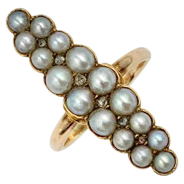 Victorian Pearl Rose Cut Diamond Ring Marquise 14 Karat Gold Antique Navette