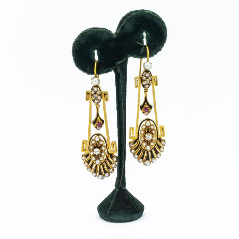 Victorian Pearl Ruby Diamond Gold Earrings In Good Condition For Sale In London, GB