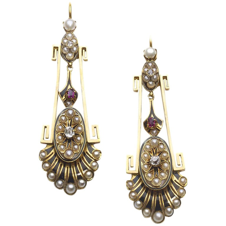 Victorian Pearl Ruby Diamond Gold Earrings For Sale