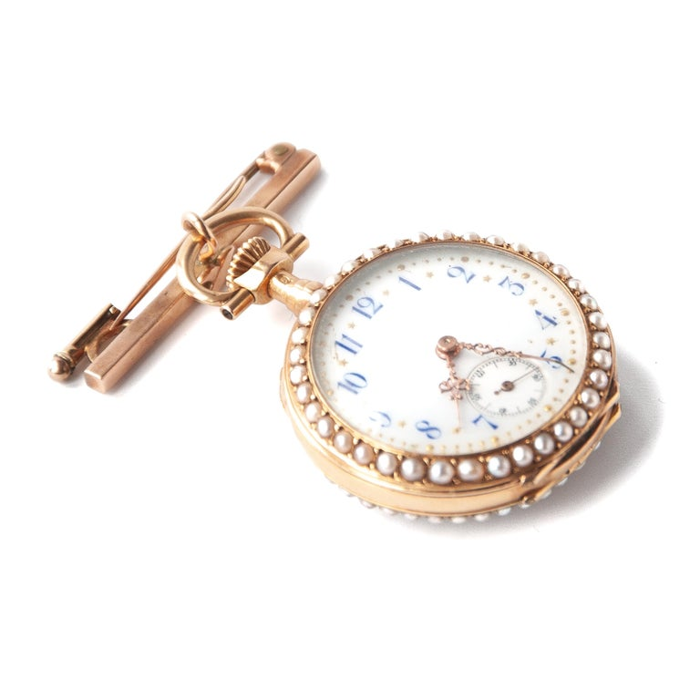 Victorian Pearls Painted Enamel 14 Karat Yellow Gold Pocket Watch In Good Condition For Sale In Rotterdam, NL