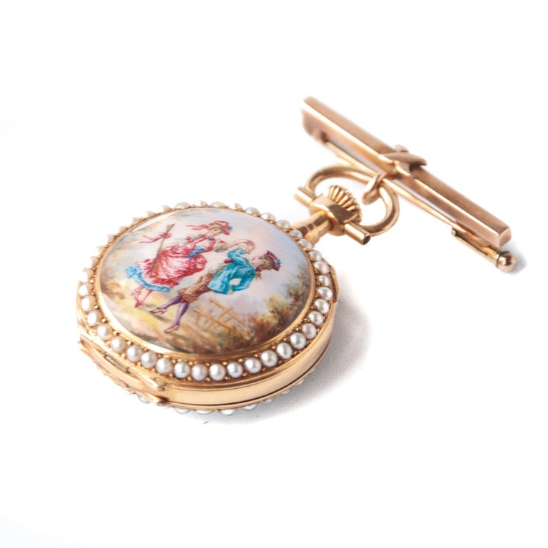 Victorian Pearls Painted Enamel 14 Karat Yellow Gold Pocket Watch For Sale 2