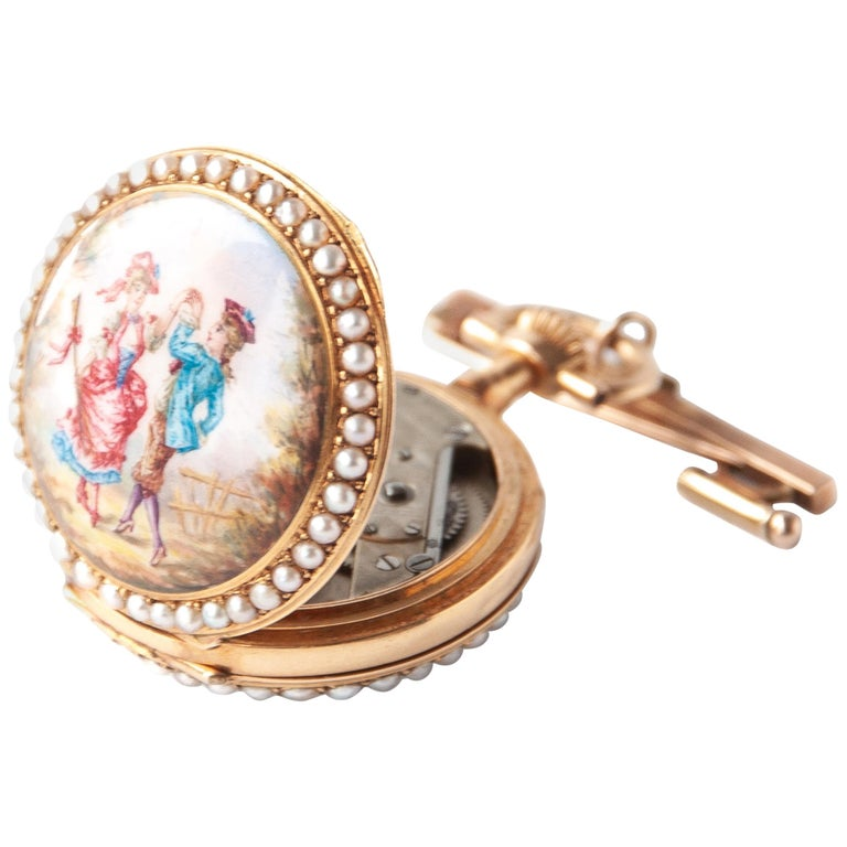 Victorian Pearls Painted Enamel 14 Karat Yellow Gold Pocket Watch For Sale