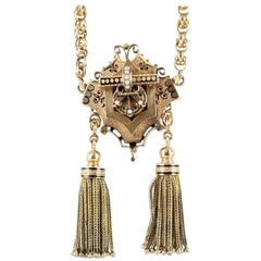 Victorian Pendant and Watch Chain with Pearls and Enamel in 15 Karat Yellow Gold