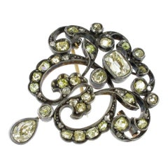 Victorian Pendant/Brooch with Old-Cut Diamonds in Silver and Gold