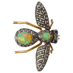Victorian Style Brooch with Diamonds, Opals and Sapphires En Tremblant Fly