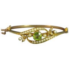 Victorian Peridot and Seed Pearl 15 Carat Gold Bangle