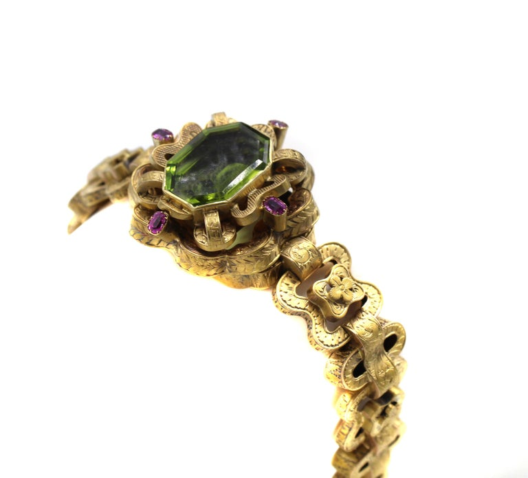 Victorian Peridot Ruby 18 Karat Gold Bracelet In Good Condition In New York, NY