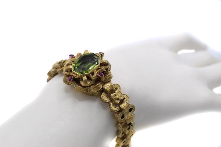 Women's or Men's Victorian Peridot Ruby 18 Karat Gold Bracelet