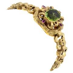 Victorian Peridot Ruby 18 Karat Gold Bracelet