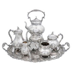 Victorian Period 19th Century Five-Piece Silver Tea and Coffee Set with Tray