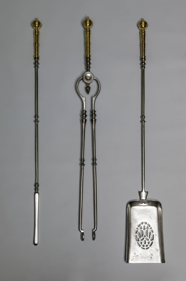 Victorian period 19th century steel fire irons.