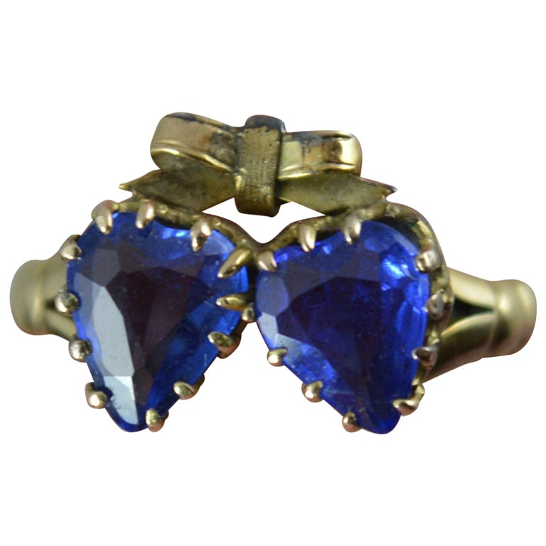 Victorian Period Blue Stone and 9 Carat Gold Two Hearts Toi et Moi Ring For Sale