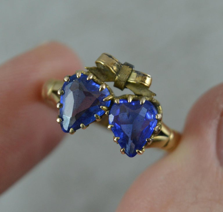 Victorian Period Blue Stone and 9 Carat Gold Two Hearts Toi et Moi Ring For Sale 6