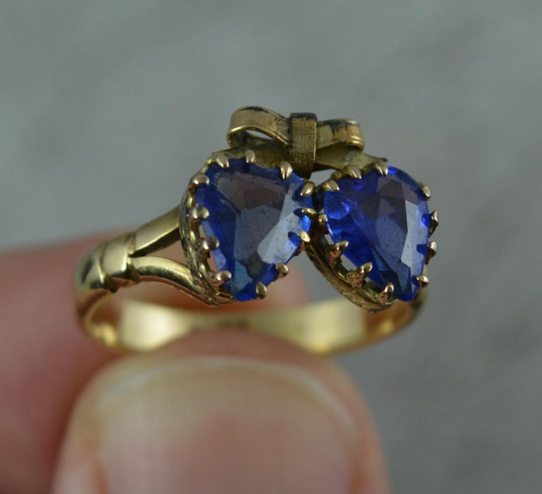Victorian Period Blue Stone and 9 Carat Gold Two Hearts Toi et Moi Ring For Sale 8