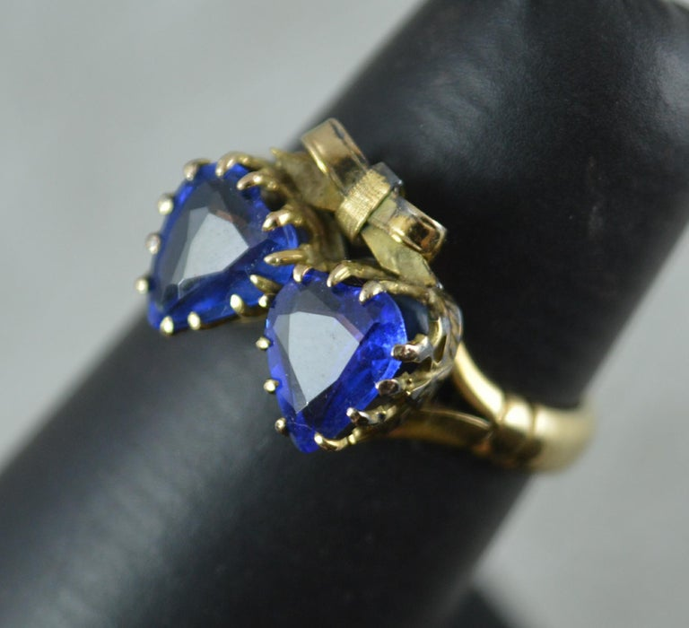 Victorian Period Blue Stone and 9 Carat Gold Two Hearts Toi et Moi Ring For Sale 9