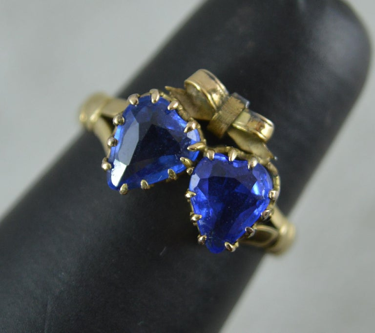 Victorian Period Blue Stone and 9 Carat Gold Two Hearts Toi et Moi Ring For Sale 10