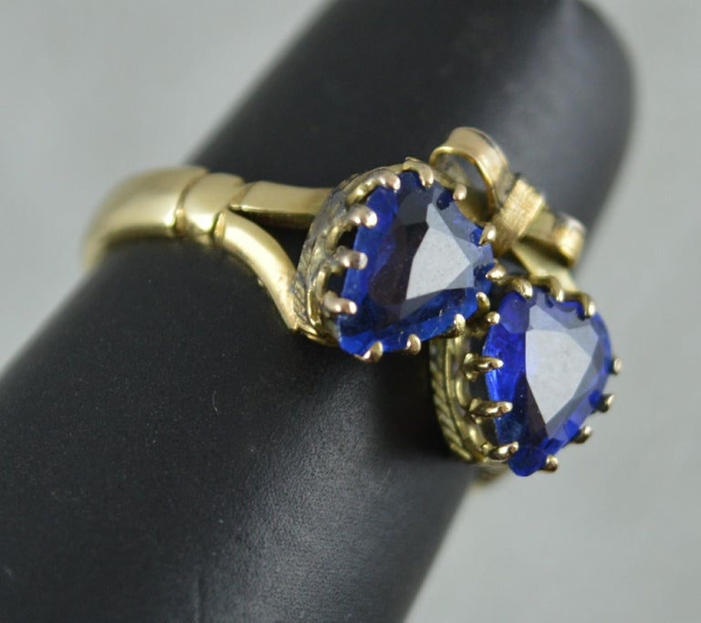 Victorian Period Blue Stone and 9 Carat Gold Two Hearts Toi et Moi Ring For Sale 11