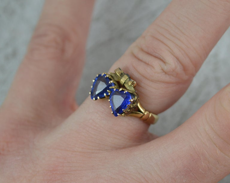 Victorian Period Blue Stone and 9 Carat Gold Two Hearts Toi et Moi Ring In Good Condition For Sale In St Helens, GB
