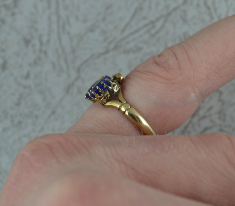 Women's Victorian Period Blue Stone and 9 Carat Gold Two Hearts Toi et Moi Ring For Sale