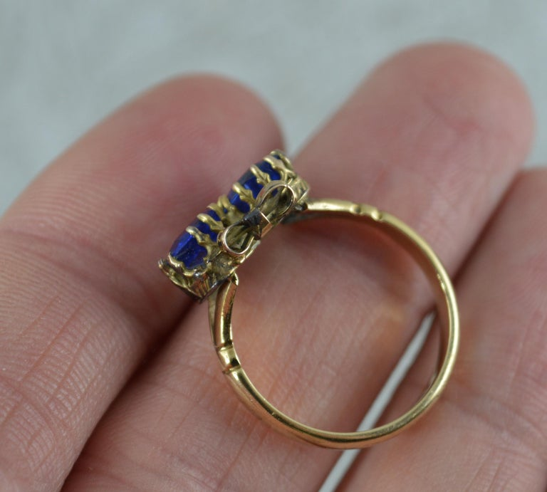 Victorian Period Blue Stone and 9 Carat Gold Two Hearts Toi et Moi Ring For Sale 1