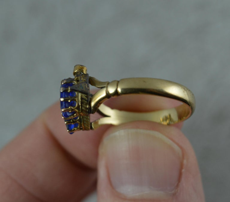 Victorian Period Blue Stone and 9 Carat Gold Two Hearts Toi et Moi Ring For Sale 3