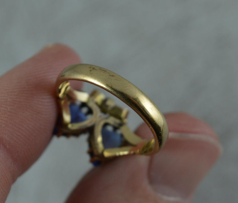 Victorian Period Blue Stone and 9 Carat Gold Two Hearts Toi et Moi Ring For Sale 4