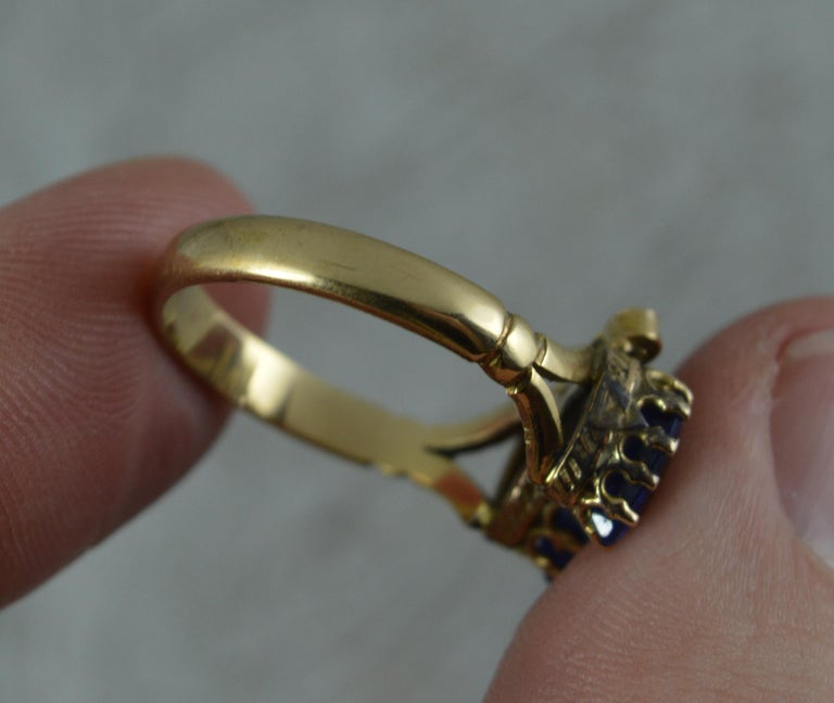 Victorian Period Blue Stone and 9 Carat Gold Two Hearts Toi et Moi Ring For Sale 5