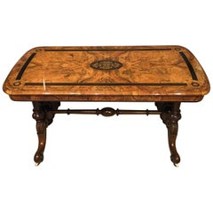 Victorian Period Burr Walnut and Ebony Inlaid Antique Coffee Table