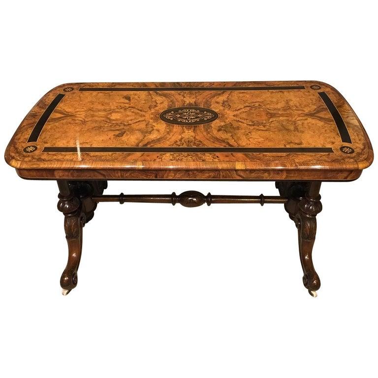 Victorian Period Burr Walnut And Ebony Inlaid Antique Coffee Table