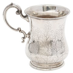 Victorian Period Calcutta Anglo-Indian Sterling Silver Mug/Cup by Cooke & Kelvy