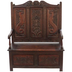 Victorian Period Carved Oak Tall Bach Bench Settle with Seat Storage