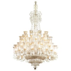 Victorian Period Cut Glass and Parcel-Gilt Chandelier by F & C Osler