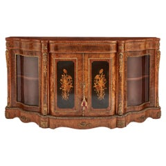 Victorian Period Gilt Bronze and Ebonized Wood Marquetry Cabinet