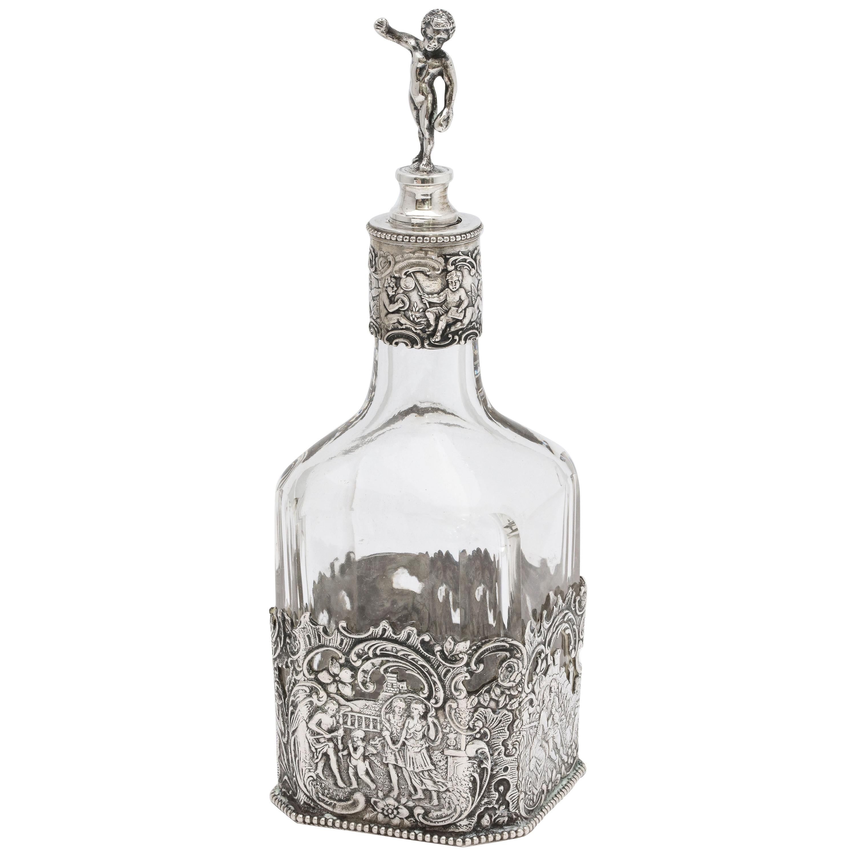 Victorian Period Hanau Continental Silver '.800', Mounted Glass Liqueur Decanter