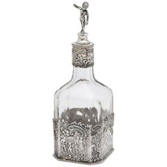 Victorian Period Hanau Continental Silver '.800', Mounted Glass Liqueur Decanter