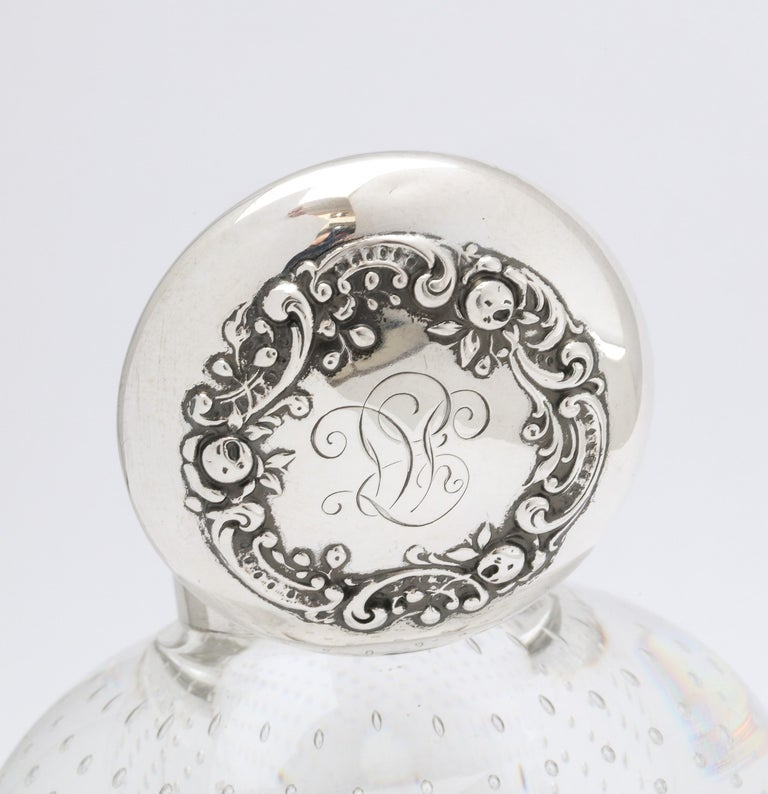 Victorian Period Sterling Silver-Mounted Controlled Bubbles Crystal Inkwell For Sale 5