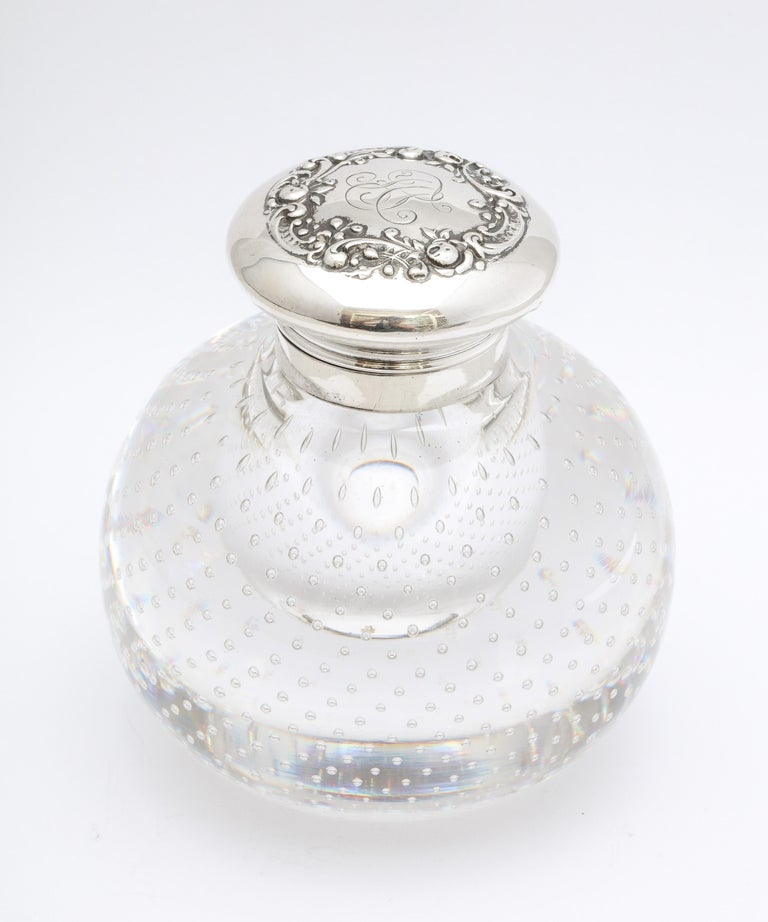 Victorian Period Sterling Silver-Mounted Controlled Bubbles Crystal Inkwell For Sale 6