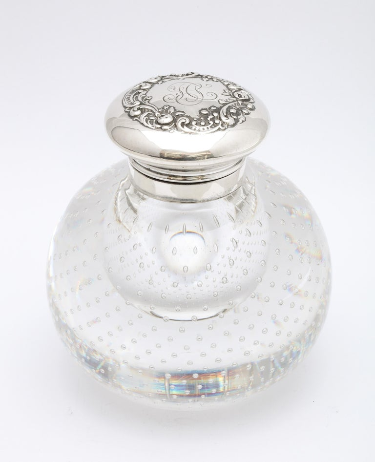 Victorian Period Sterling Silver-Mounted Controlled Bubbles Crystal Inkwell For Sale 7
