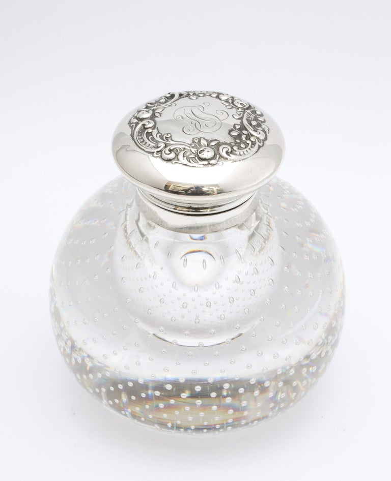 Victorian Period Sterling Silver-Mounted Controlled Bubbles Crystal Inkwell For Sale 8
