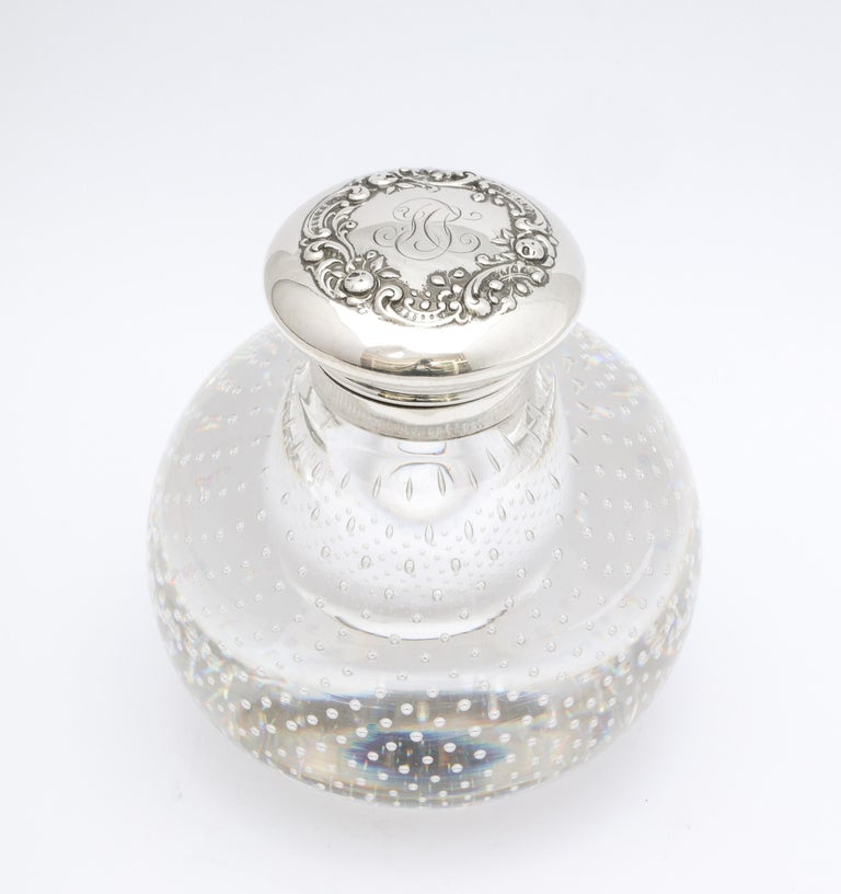 Victorian Period Sterling Silver-Mounted Controlled Bubbles Crystal Inkwell For Sale 9