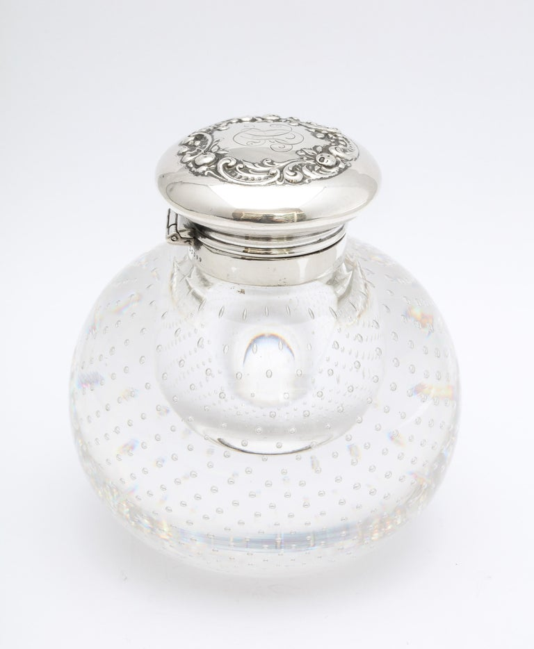 American Victorian Period Sterling Silver-Mounted Controlled Bubbles Crystal Inkwell For Sale