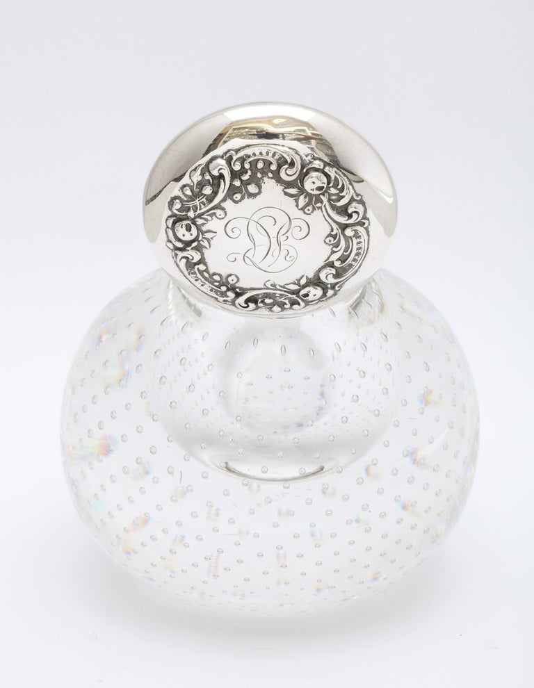 Victorian Period Sterling Silver-Mounted Controlled Bubbles Crystal Inkwell For Sale 1