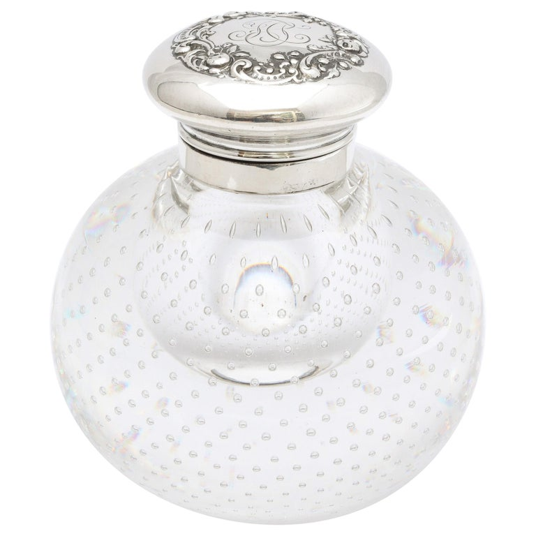 Victorian Period Sterling Silver-Mounted Controlled Bubbles Crystal Inkwell For Sale