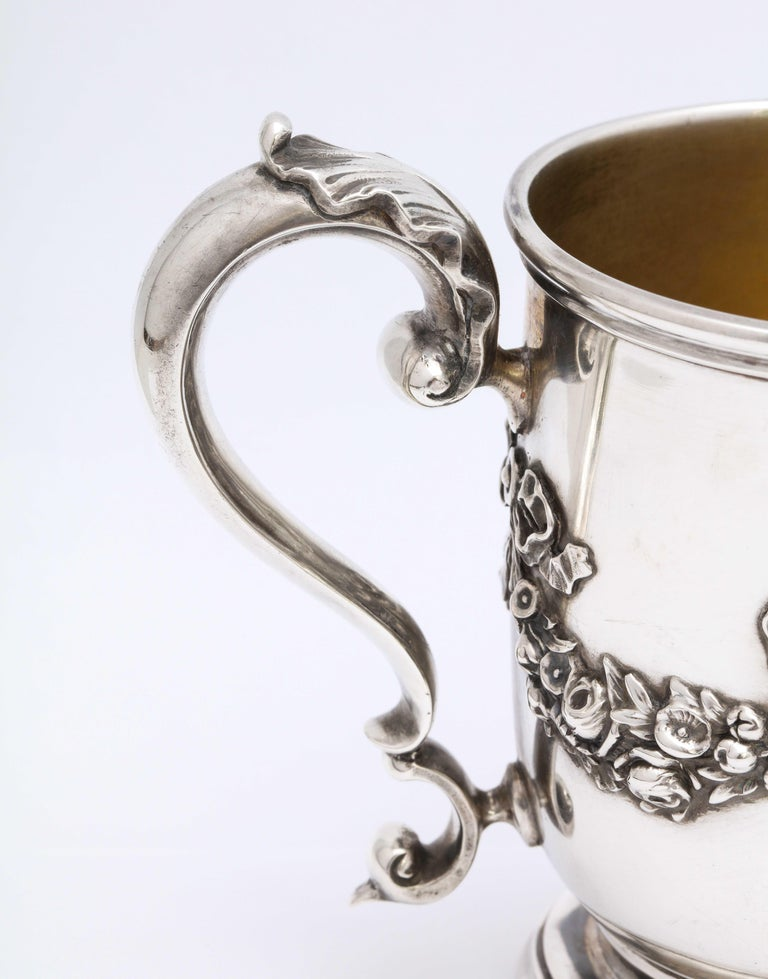 Victorian Period Sterling Silver Mug/Cup on Pedestal Base, Black, Starr & Frost In Good Condition For Sale In New York, NY