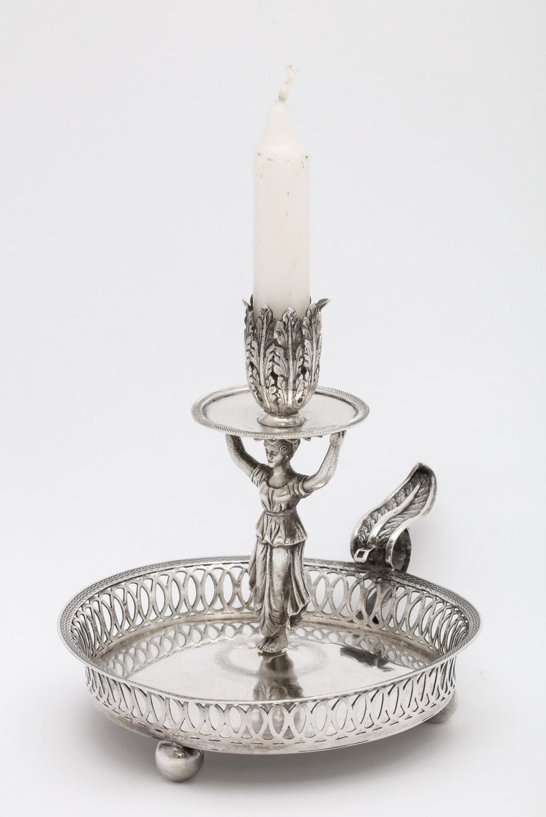 Victorian Period Sterling Silver Spanish Chamberstick on Ball Feet by Paulino For Sale 5