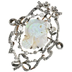 Victorian Perseus Diamond Carved Opal Silver Pendant Brooch