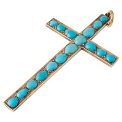 Victorian Persian Turquoise and 14 Karat Gold Cross Charm