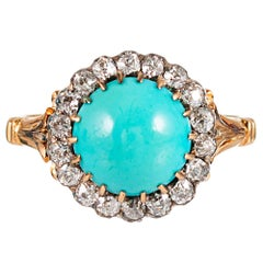 Victorian Persian Turquoise and Diamond Cluster Ring
