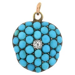 Victorian Persian Turquoise and Diamond Locket Pendant