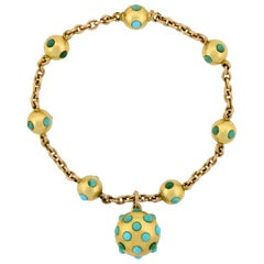 Victorian Persian Turquoise Ball Link Bracelet with Locket Charm